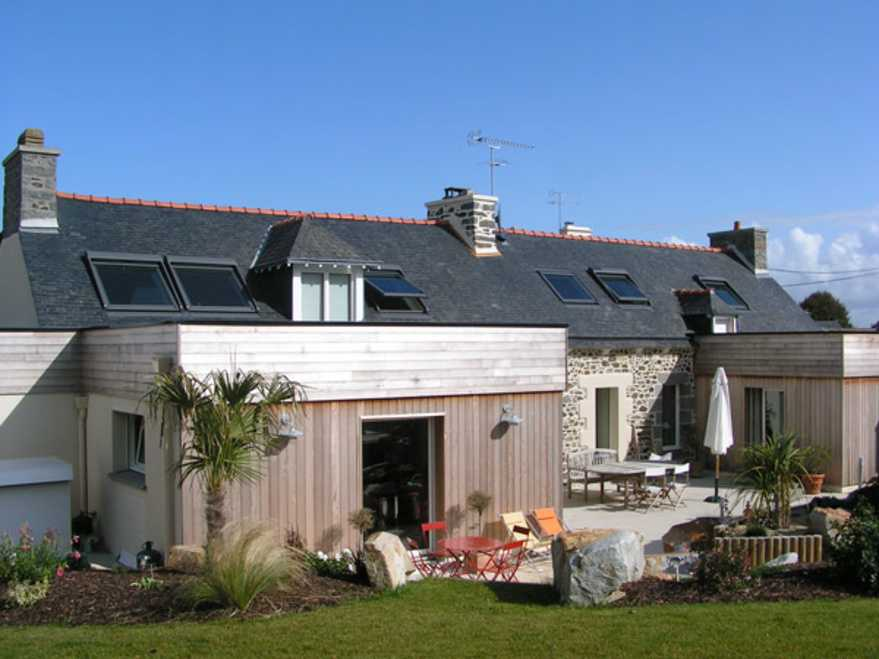renovation longere + extension ossature bois hillion